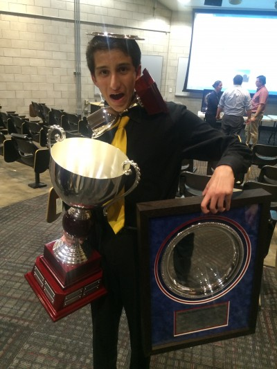 Arjun with the Dukes and Bailey, NDCA 1st Speaker Award, and Octofinalist award